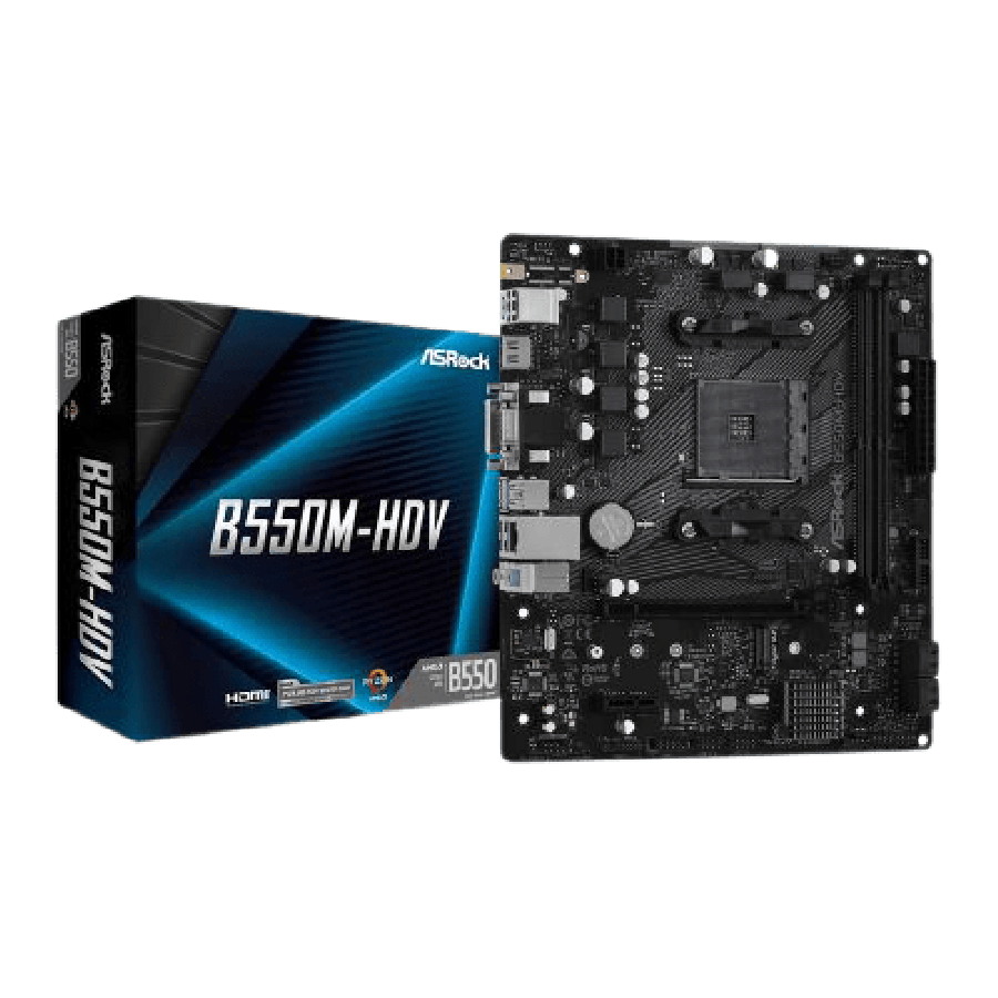 Asrock B550M-HDV, AMD B550, AM4, Micro ATX, 2 DDR4, VGA, DVI, HDMI, PCIe4, M.2