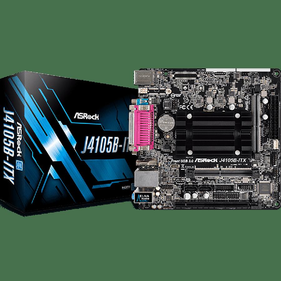 Asrock J4105B-ITX, Integrated Intel Quad-Core J4105, Mini ITX, DDR4 SODIMM, VGA, HDMI, Serial & Parallel Port