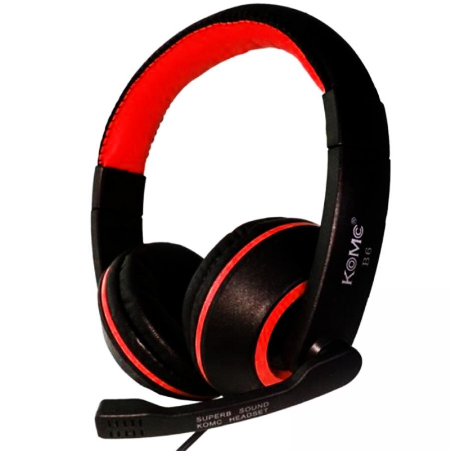 Komc Km-b6 Over-ear Bass Headphones,wired Usb Stereo Multimedia Headphones - Red