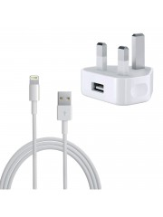 Refurbished Genuine Apple iPhone 5 5S 5C 6 6 Plus iPad and iPod Mains Charger With USB Data Cable, A - White