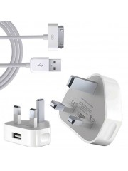 Refurbished Genuine Apple iPhone 4 Mains Charger with USB Cable, A - White