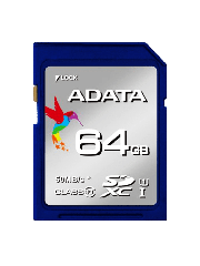 ADATA Premier 64GB High Capacity SDXC Card, UHS-I Class 10, R/W 50/10 MB/S