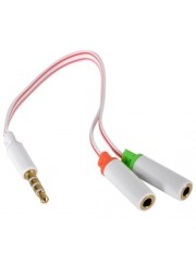 Sandberg 3.5mm Jack Splitter Cable, Mic Input & Audio Output into 1 x 3.5mm Jack - White