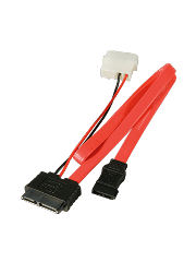 Akasa SATA Cable For Slimline Opticals, SATA+Molex to Mini SATA Power & Data, 40CM - Red