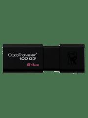 Kingston 64GB USB 3.0 Memory Pen DataTraveler 100 G3 with Sliding Cap - Black