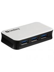 Sandberg External 4-Port USB 3.0 Hub, Overload Protection, Mains/USB Powered - White and Black