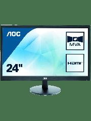 "AOC 23.6"" LED Monitor (M2470SWH), 1920 x 1080, 5ms, VGA, 2 HDMI, Speakers, VESA, 3 Years On-site Warranty"