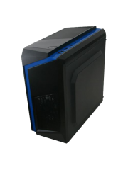 Spire F3 Micro ATX Gaming Case with Windows, No PSU, Black with Blue Stripe, Card Reader