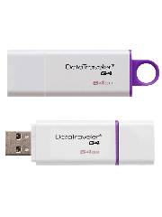 Kingston 64GB USB 3.0 Memory Pen, Data Traveler G4, Lid - White/Purple