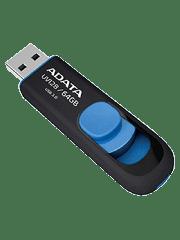 ADATA 64GB USB 3.0 Memory Pen Retractable Capless - Black & Blue