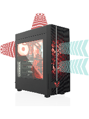 Riotoro CR400 Gaming Case with Window, ATX, No PSU, Mesh Front, 2 x 12cm Fans (Red LED Front Fan), USB 3.0