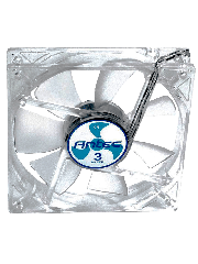 Antec TriCool 8CM Clear Case Fan, 3 Speed, 3-Pin with 4-Pin Adapter - White