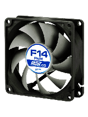 Arctic F14 14CM PWM PST Case Fan for Continuous Operation, 9 Blades - Black & Grey
