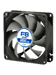 Arctic F8 8CM PWM PST Case Fan for Continuous Operation, 9 Blades, Dual Ball Bearing - Black & Grey