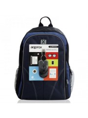 "Approx (APPNBBUNDLE40) Backpack & Mouse Bundle - 15.6"""" Case in Black & Blue with USB Optical Mouse"