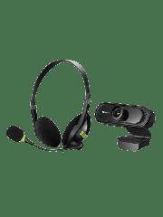 Sandberg Bundle - USB Headset with Boom Mic (325-26) & FHD USB Webcam with Mic (333-96) - Soft Bundle (Boxed Separately) - 5 Year Warranty
