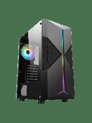 Spire Pyro ARGB Gaming Case w/Glass Window/ATX/ARGB Strips w/ IC connection/1 ARGB Fan/Mesh Top & 2 Front Cut-Outs