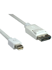 Spire 2-Metres Mini DisplayPort Male to DisplayPort Male Converter Cable, Gold Connectors - White