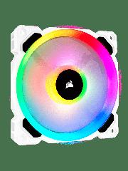 Corsair LL120 12CM PWM Case Fan, 16 LED RGB Dual Light Loop, Hydraulic Bearing - White with RGB LEDs