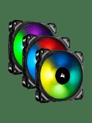 Corsair ML120 Pro 12CM PWM RGB Case Fans X3, Magnetic Levitation Bearing, 3 Pack - Black with RGB LEDs