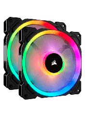 Corsair LL140 14CM PWM RGB Case Fans X2, 16 LED RGB Dual Light Loop, Hydraulic Bearing, Twin Pack