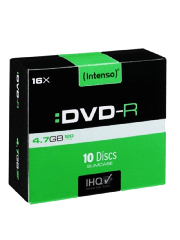 Intenso DVD-R, 4.7GB 120-Minutes, 16X Speed, Single Layer, Slim Case 10 Pack