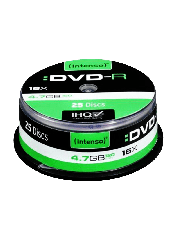 Intenso DVD-R, 4.7GB 120-Minutes, 16X Speed, Single Layer, Cake Box of 25
