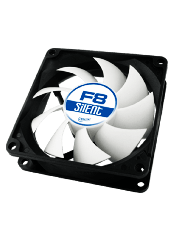 Arctic F8 Silent 8CM Case Fan, 9 Blades, Fluid Dynamic - Black & White