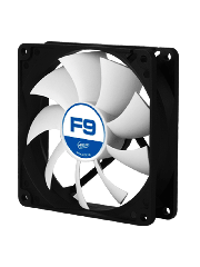 Arctic F9 9.2CM Case Fan, 9 Blades, Fluid Dynamic - Black & White
