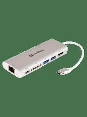 Sandberg USB 3.1 Type-C Dock, HDMI, USB 3.0, USB-C, Aluminium - White