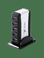 Dynamode (USB-H70-1A2.0) External 7-Port USB 2.0 Hub, Mains Powered - Black