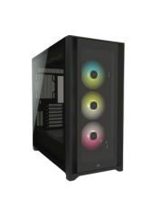 Corsair iCUE 5000X RGB Gaming Case w/ 4x Tempered Glass Panels, E-ATX, 3 x AirGuide RGB Fans, Lighting Node CORE included, USB-C,Black