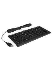 Keysonic ACK-3401U Wired Mini Keyboard, USB, Ultra-Compact with Full Functionality, SoftSkin Coating