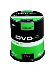 Intenso DVD-R, 4.7GB 120-Minutes, 16X Speed, Single Layer, Cake Box of 100