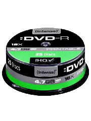 Intenso DVD-R, 4.7GB 120-Minutes, 16X Speed, Single Layer, Printable, Cake Box of 25