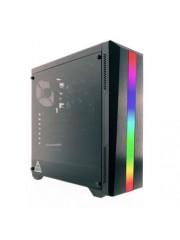 Riotoro CR100TG RGB Gaming Case with Tempered Glass Window & RGB Front Panel, ATX, No PSU, 1 x 12cm Fan, Black