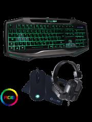 Brand New Game Max Raptor Gaming USB/RGB LED Keyboard/Mouse/Mat and Headset Bundle Set