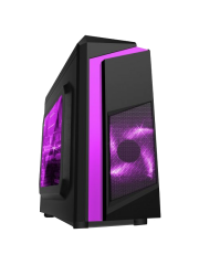 Spire F3 Micro ATX Gaming Case with Windows, No PSU, Purple LED Fan, Black with Purple Stripe, Card Reader