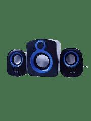 Brand New Jedel SD003 Compact 2.1 Desktop Speakers, 5W + 2x 3W, USB Powered, 3.5mm Jack, Black & Blue