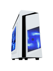 Spire F3 Micro ATX Gaming Case with Windows, No PSU, Blue LED Fan, White with Black Stripe, Card Reader