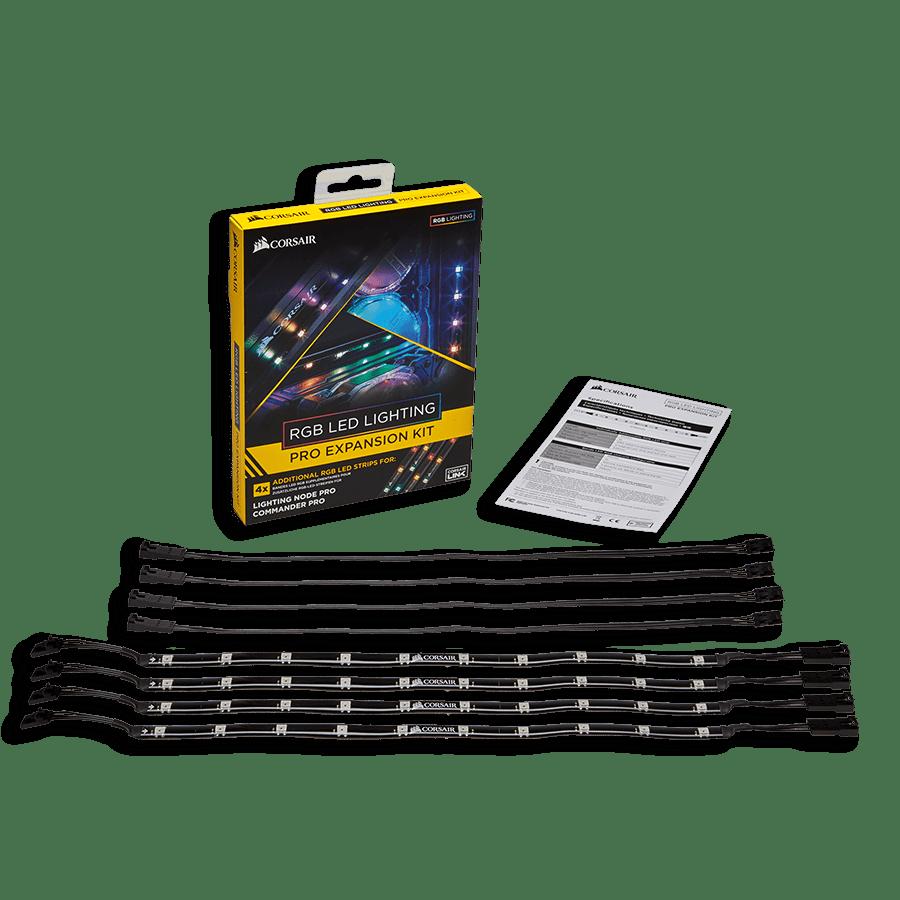 Corsair RGB LED Lighting Pro Expansion Kit, 4 X Individually Addressable RGB LED Strips + Extension Cables